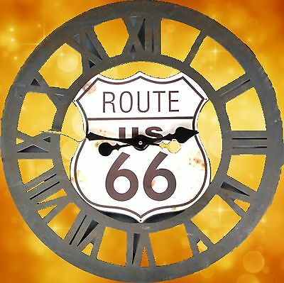 Wall Clock Iron round Open Gift Vintage Aesthetics Rarity Route 66 Zeitzeuge1