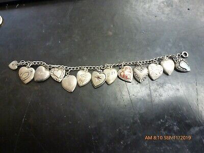 Vintage!! Sterling Silver 13 Puffy Heart Charms and Bracelet Some with Enamel