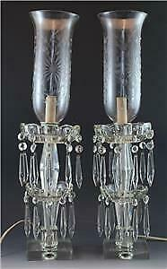 Pr Cut Crystal Candlestick Luster Lustre Table Lamps & Shades Double Prisms