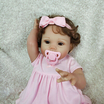 "18"" Reborn Baby Doll Full Soft Body Silicone Vinyl Newborn Toddler Girl Dolls US"