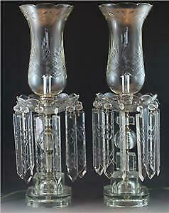 Large Pr Hollywood Regency Crystal Candlestick Luster Table Lamps w/ Shades