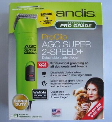 Andis AGC ProClip UltraEdge 2-Speed with #10 Blade Green 22585 extra combs