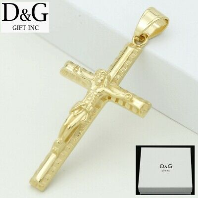 DG Men's Gold Stainless Steel JESUS CROSS 70mm Pendant + BOX
