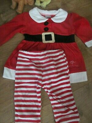 Baby Girls Mrs Santa Outfit, Dress & Leggings Christmas Outfit Age 9- 12 Months