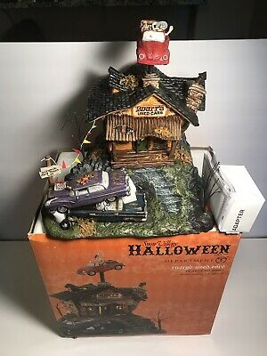 Department 56 Snow Village Halloween Rusty's Used Cars & Rusty Scares Up A Deal