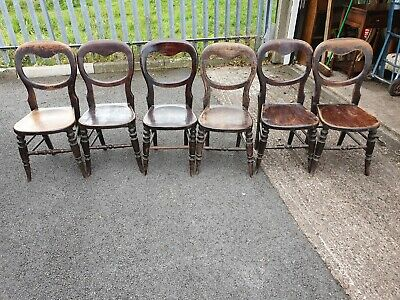 Set Of 6 Antique Baloon Back Chairs