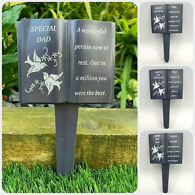 Slate Grey Memorial Book Stake Dove Detail Grave Plaque Spike Marker Tribute