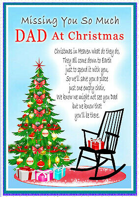 Christmas Memorial Dad Bereavement Rememberance Graveside Card & Holder 1