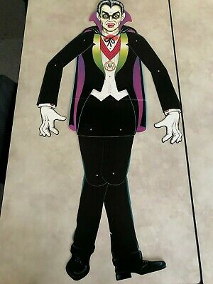 "Vintage Retro Styled Beistle Halloween Decor 50"" Dracula Jointed Die-cut Cutout"