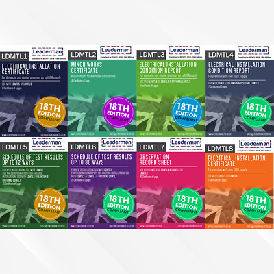 Leaderman Electrical Test Certificate Book 18th Edition Compliant LDMTL1-8