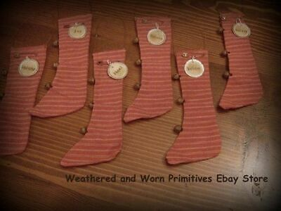 """Primitive Ticking Christmas 7"""" Stocking Ornaments - Rusty Wire Hanger Set of 6"""