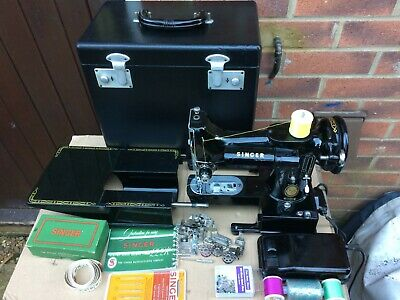 1955 Vintage Singer 222K Free Arm Featherweight Sewing Machine with Instructions