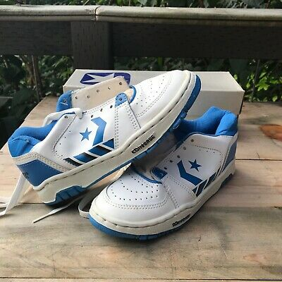 NIB 80s Converse Starion Vintage Youth Sneakers Size 4 white blue black leather