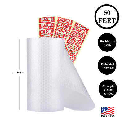 "Bubble Cushioning Wrap Roll 50 Foot 3/16"" (Small) 12"" Wide! Perforated Every 12"""