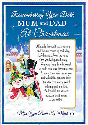 Christmas Mum And Dad Graveside Rememberance Memorial Bereavement Card & Holder