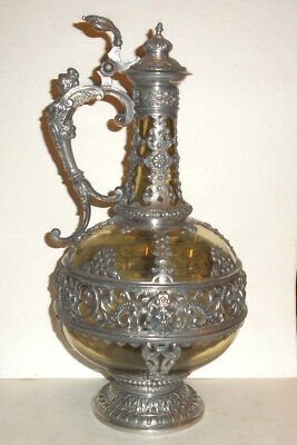 Rare Stunning Antique  Glass & Silver Plated Mounted Claret Jug Fine Item