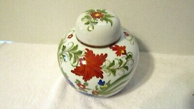 Vintage Hand Painted Ginger Jar With Lid Poppy's Blue Astor's Older Japanese