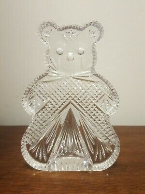 Waterford Crystal TEDDY BEAR Bookend  Figurine Sculpture Nursery  Shower Gift