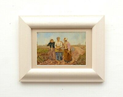 French Farmhouse Painting 19th Century Antique Figurative  Original Framed