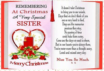 Christmas Sister Graveside Rememberance Memorial Bereavement Card & Holder