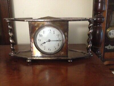 silver plate french mantel clock