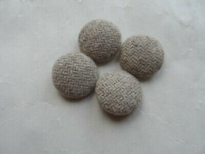 4 x Trims Vintage Buttons Stone Taupe Herringbone Pattern Fabric