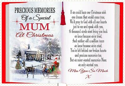 Christmas Memorial Mum Bereavement Rememberance Graveside Card & Holder 1