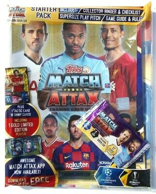 Match Attax Trading Card Starter Pack Season 2019 / 20  ~ 17 Cards & Gold Limite