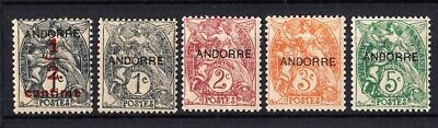 Lote sellos Andorra año 1929 MN Edifil 1-5, lot French Andorra stamps.