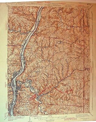 USGS 15' Topographic Map Wheeling, WV/Ohio/Pennsylvania 1942 edition.
