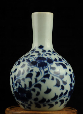 china old Ming blue white porcelain hand-painted flowers vase/yongle mark A1b02E