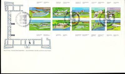 Canada jumbo FDC 1983 sc#992a Canadian Forts-1, pane of 10