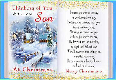 Christmas Son Graveside Rememberance Memorial Bereavement Card & Holder