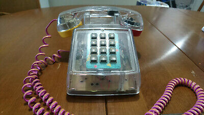 Vintage 1980's style clear see-thru Fun Phone touchtone hardwired land line desk