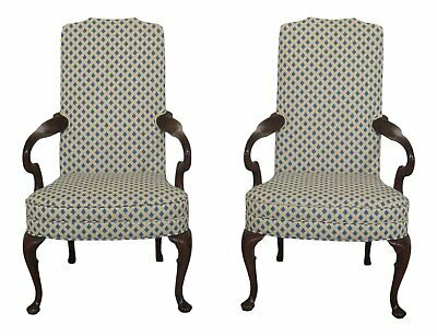 47698EC: Pair HICKORY CHAIR CO Queen Anne Mahogany Arm Chairs