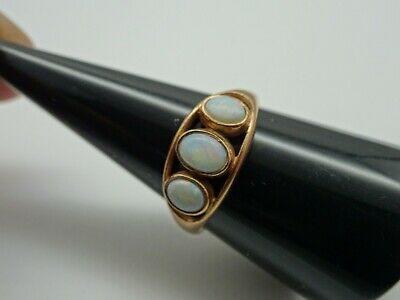 Antique Victorian Arts & Crafts 9ct Rose Gold Fiery Opal Trilogy Ring. F194F