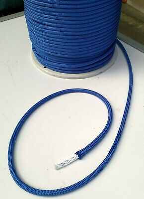 5m X 8mm BLUE NAVY DOUBLE BRAID POLYESTER YACHT MARINE SAILING ROPE 1700 kg