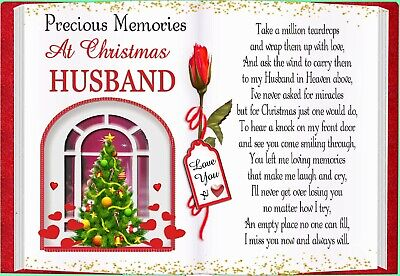 Christmas Husband Graveside Rememberance Memorial Bereavement Card & Holder