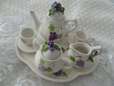 Stunning  Collectable Miniature China Purple  & White Tea Set And Tray   So Cute