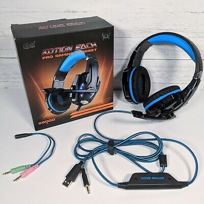 Kotion Each G9000, LED Gaming Headset W/ Mic - Black/Blue Open Box