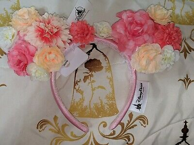 Disney Parks Minnie Mouse Ears Pink Floral Headband with Bow NEW 2019