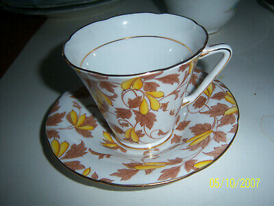 ROYAL GRAFTON ASHLEY tea cup and saucer  Gold Vine  pattern & signed