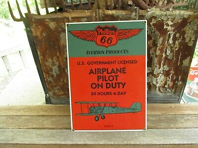 """""""Phillips 66""""Aviation Products-Airplane Pilot On Duty-''Boeing 40-Porcelain Sign"""