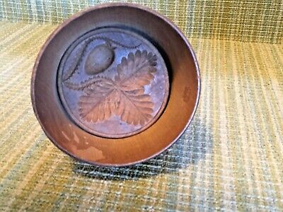 Antique Primitive Wooden Butter Mold Strawberry Press Country Folk Art
