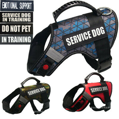 Service Dog Vest/Harness w/ Handle Patches Emotional Support Therapy Dog XS- XXL
