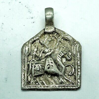 Late Or Post Medieval Aged Silver Pendant Charm Artifact Jewelry Horse Antique
