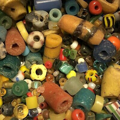 25 Mixed Ancient & Medieval Glass Bead Artifact Lot Roman Venetian African Old