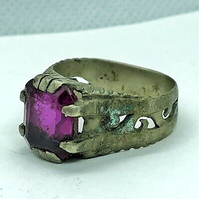 Antique Medieval Style Ring With Purple Stone European Old Artifact Type Jewelry