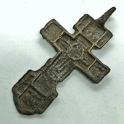 Medieval Byzantine Cross Artifact Russian Orthodox Church European Pendant Old