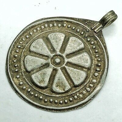 Antique Post Medieval Islamic Middle Eastern Pendant Arab Old Flower Stamp Charm